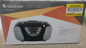 Goodmans Boombox FM/MW CD Player (Aux In) £15 reduced to £13.50 (Cambridge, Milton store) @ Tesco