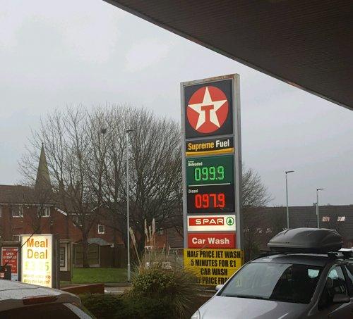 Texaco Fuel Price Cut (Blackburn) Diesel 97.9p / unleaded 99.9p