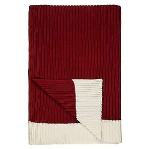 John Lewis Chunky Knit Throw, Red/Cream Was £65.00, then £32.50, now £19.50.