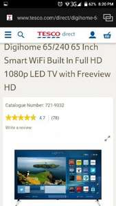Digihome 65/240 65 Inch Smart WiFi Built In Full HD 1080p LED TV with Freeview HD £599.99 delivered at Tesco Direct