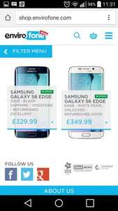 Samsung Galaxy S6 edge 32gb - refurbished excellent £329.99 @ envirofone