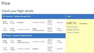Glasgow / Edinburgh To Miami £368 With British Airways Various Dates (Aug - November 2016)