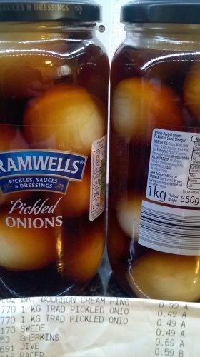 Aldi, Bramwells pickled onions 1 KG jar.(Instore)