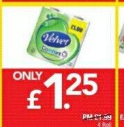 Velvet comfort 4 toilet paper for £1.25 from Premier