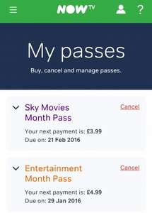 Cheaper Now TV for 4 months (movies £3.99 per month/entertainment £4.99 per month)