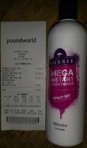 Aussie Mega Instant Conditioner BIG Bottle 400ml @ £1 Poundworld Instore