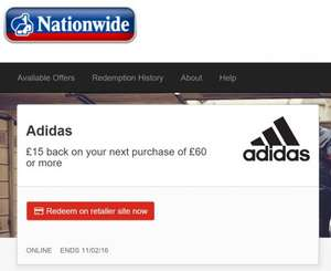 Possible 47.3% off Adidas online only for Nationwide Simply Rewards users via stacking