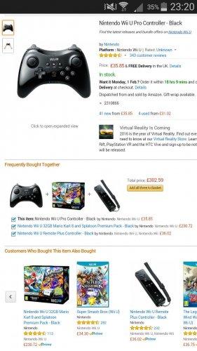 Nintendo Wii U Pro Controller - Black £35.85 @ Amazon