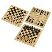 Spears Games Wooden 3-in-1 Chess, Draughts & Backgammon Set £5 C+C @ Tesco Direct