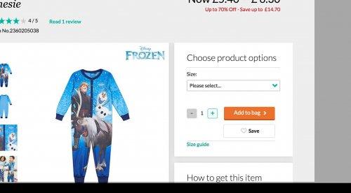 Frozen Onesie £5.40 - £6.30 (free c&c) debenhams