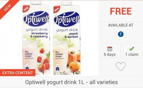 FREEBIE... 3 X Optiwell Yoghurt Drinks (1L) via COS, CS & TCB - £1.80 @ Tesco...