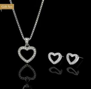 22ct White Gold Plated Heart Necklace & Earring Set £12.95 + FREE delivery @ John Greed Jewellery