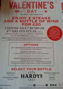 2 steaks and a bottle of wine £20 Valentines day meal out @ Wetherspoons