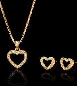 Genuine Zirconia 22ct Gold Plated Sterling Silver Jewellery Set £11.95 @ John Greed