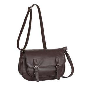 Leather Buckle Satchel in Choc Brown or Cognac £14.99 del using code @ Bags Etc