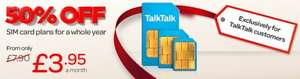 Talk talk mobile, (existing customers) Sim only 1000 mins, unlimited sms, 2.1gb 3G data £7.75 per month with possible £60 quidco
