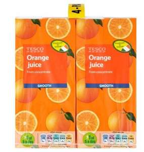 Tesco Pure Orange Juice/ Apple juice Smooth 4 X 1 Litre - 85p!!!