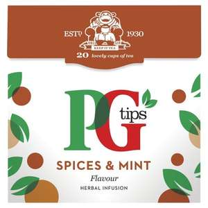 PG tips Spices & Mint 20s Pyramid Teabags 4 x 40g - £1.29 Amazon ADD-ON ITEM
