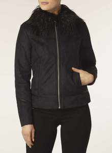 Navy faux shearling jacket £12.75 was £55 @ dorothy Perkins