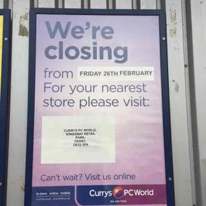 Closing Down Clearance In Store Only @ Currys/PCWorld Derby Wyvern