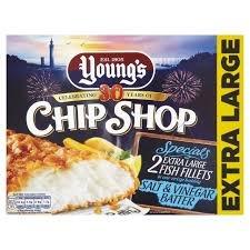 Young's Chip Shop Extra Large Fish Fillets in Salt & Malt Vinegar Batter 2 x 160g - now £1 at Morrisons