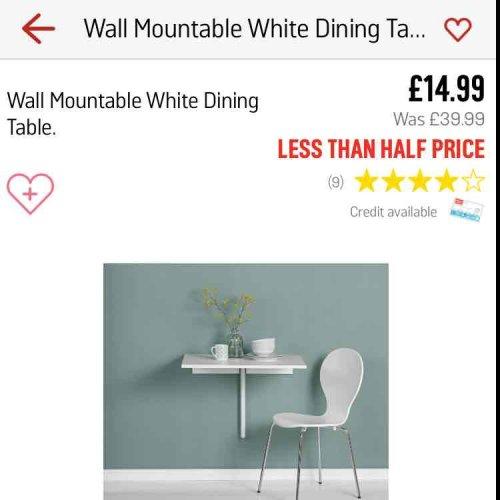 wall mountable white dining table £14.99 @ Argos