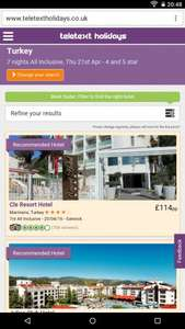 marmaris turkey 1 week all inclusive april £114 teletext holidays
