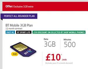 BT Mobile - 3GB 4G Data + 500mins + Unlimited Texts - £10pm (Existing BT Customers Only)