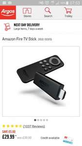 Amazon Fire TV Stick £29.99 @ Argos