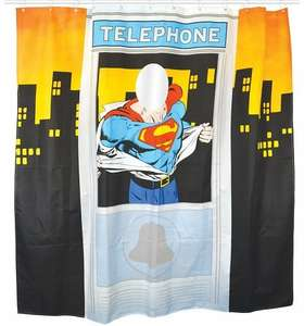Superman Shower Curtain (Telephone Box) £6.99 With Prime, £11.48 Without @ Amazon