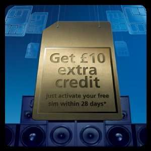 Free o2 sim with free £10 credit