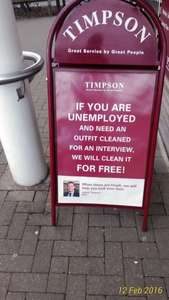 FREE outfit cleaning for your interview (if unemployed) at Timpson