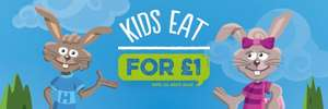 Kids eat and drink for £1 @ harvester (when buying an adult main/breakfast)