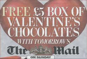 FREE £5 box of Valentine's Chocolates with tomorrow's The Mail on Sunday (£1.60) - Collect from W H Smith