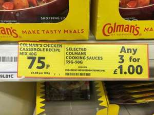 Colmans cooking sauces - 75p each or 3 for £1 - Online and in store Tesco bargain!