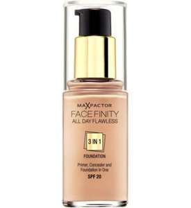 Max Factor Face Finity 3 in 1 All Day Flawless foundation 16.98 for THREE @ Boots. FREE C&C! normally 12.99 for one.