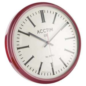 Time to Save! Acctim Jura Clock 30cm Red - Was £13 Now £5 @ Tesco (£2 c&c)