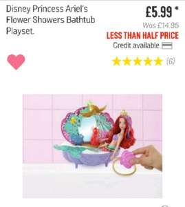 Disney Princess Ariel Flower Showers Bathtub Playset was £14.95 NOW £5.99 from Argos
