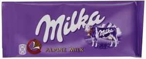 Milka Alpine Milk or White Chocolate Bar 100g 50p @ Morrisons