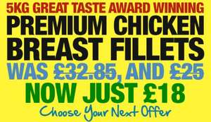 Premium Chicken Breast Fillets 5kg Now £18 (£3.60 per KG) @ MuscleFood (Min order £24.99 / £4.95 del)