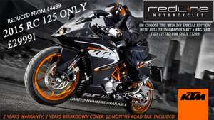 KTM RC 125 (2015) - £2999, reduced from £4499 @ Redline Mororcycles