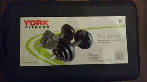 York Fitness Cast Iron Dumbell Set and Case - Black, 20 Kg £10.00 @ Tesco