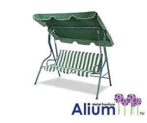 Alium 3 Seater Swing Seat, Green and White Striped with Frilled Canopy £32.99 @ Amazon