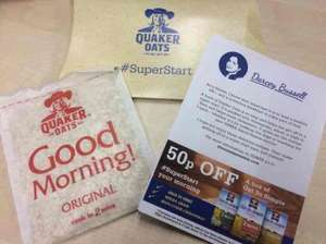 Free sachet of oat (Quaker Oats) + 50p off voucher inside @ Wimbledon Station