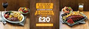2 Steaks or Ribs + 2 Drinks £20 at Harvester