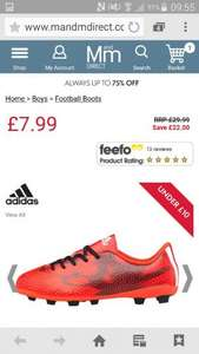 Buy adidas Boys F5 FG Football Boots Solar Red/White/Black AD11159 £7.99 + £4.49 p&p at MandM Direct