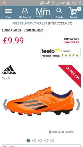 Buy adidas Mens F5 TRX FG Football Boots Solar Zest/Black/Purple AD11207 at MandM Direct - £9.99 + £4.99 P&P