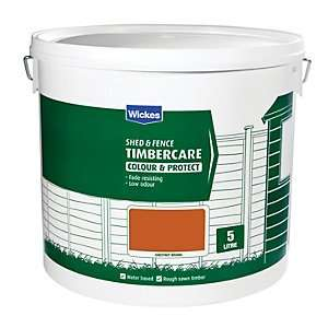Wickes Shed & Fence Timbercare 5L tins now £1 or 12L -£2.49 free click and collect red, brown, green and light brown