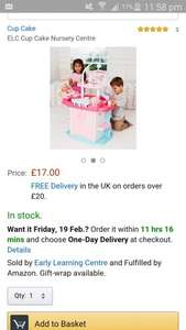 ELC Cupcake doll nursery centre £17  (Prime) / £21.25 (non Prime) Sold by Early Learning Centre and Fulfilled by Amazon