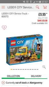 Lego City Service Truck 60073 RRP £17.99 down to £9.99 @ Argos